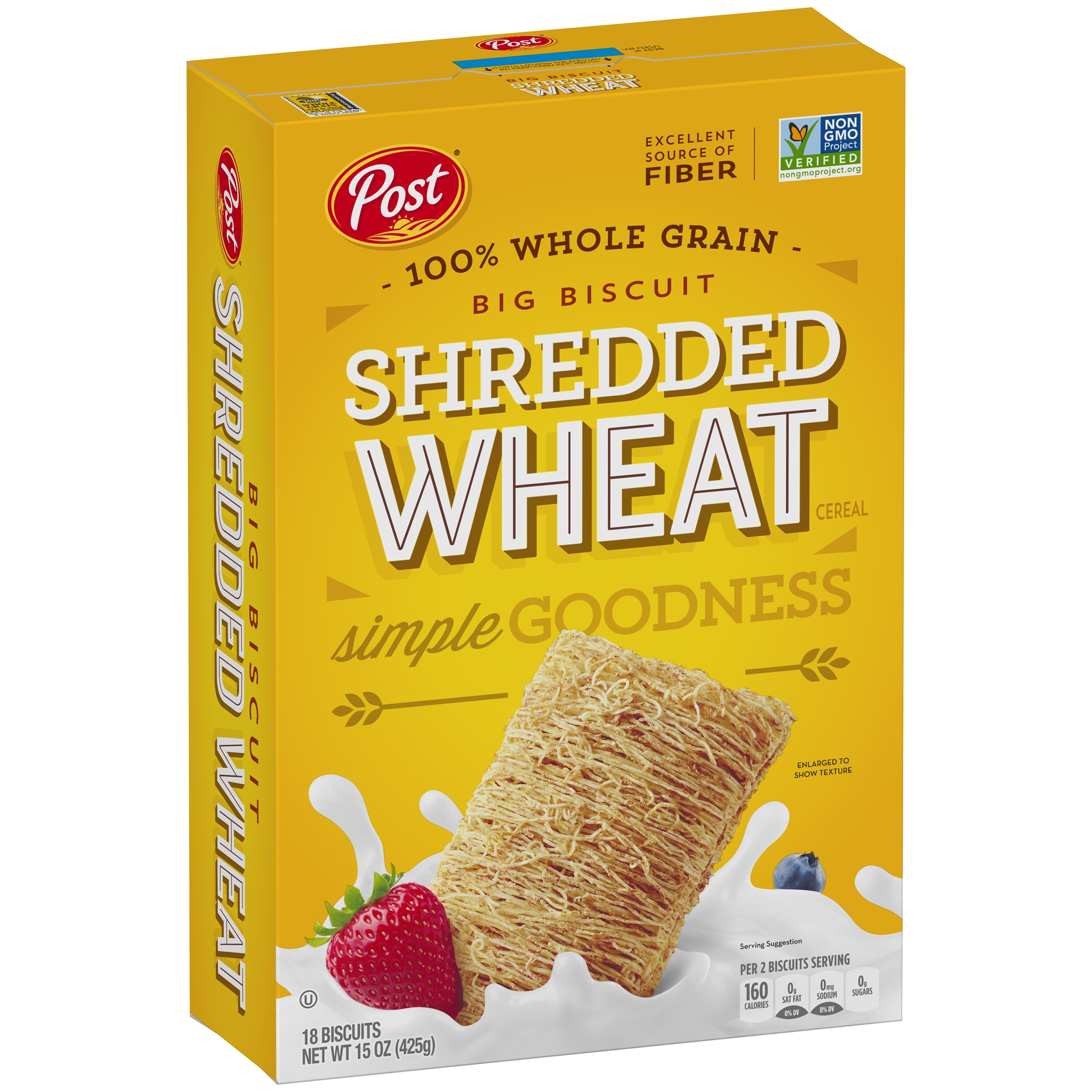 Post Whole Grain Shredded Wheat Big Biscuit Cereal Box, 15 oz