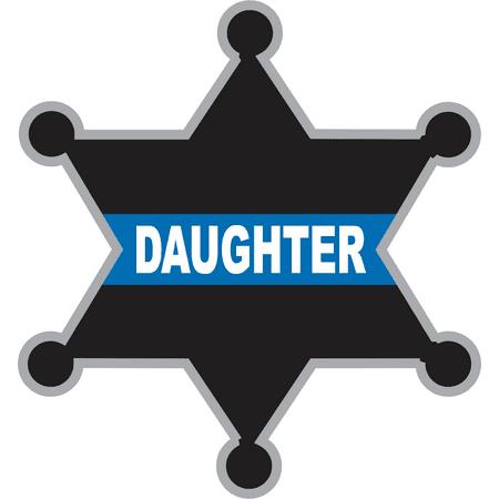 Sherriff Badge (3.8 Inch Thin Blue Line Daughter Sheriff Badge)