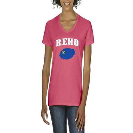 Reno Nevada Women's V-Neck T-Shirt Tee (Women In Reno)