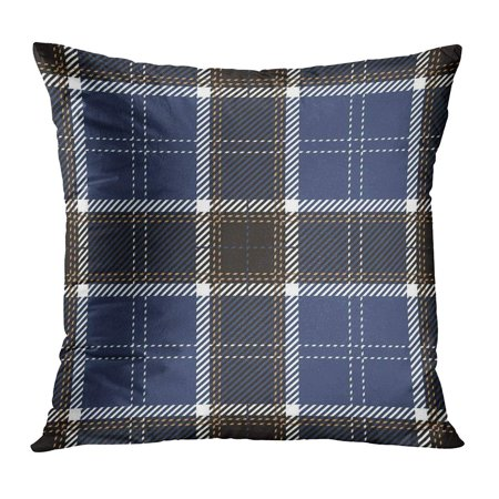 BOSDECO Abstract Blue Scottish Tartan Plaid Pattern Black Checkered Clan Culture Detailed Pillow Case Pillow Cover 20x20 inch - image 1 of 1