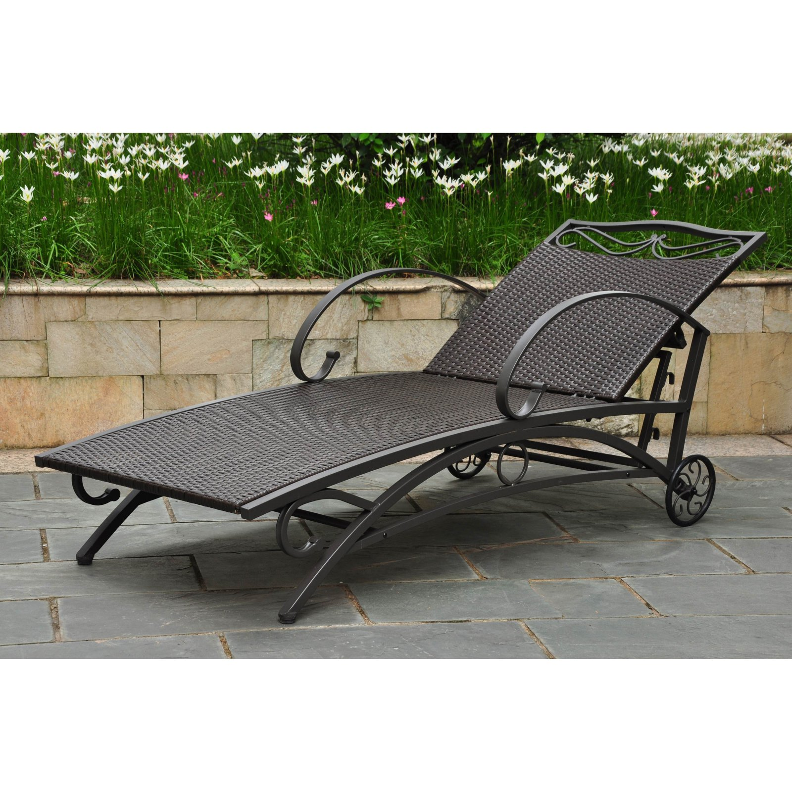 International Caravan Lisbon Wicker Contemporary Multi Position Patio Chaise Lounge by International Caravan