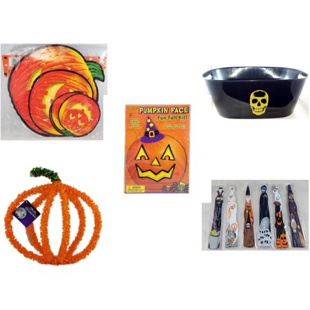 Halloween Fun Gift Bundle [5 Piece] - Classic Pumpkin Cutouts Set of 9 - Black With Skeleton Oval Party Tub - Darice Pumpkin Face Fun Felt Kit - Witch -  Pumpkin Plastic on Wire Decoration -  Wooden - Halloween Photo Face Cutouts