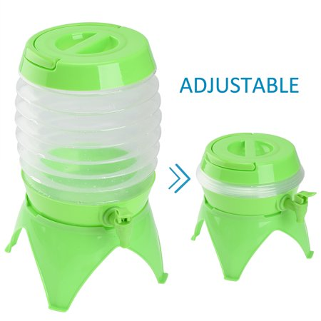 RUNACC Outdoor Folding Water Container Collapsible Water Bucket Portable Telescopic Drinking Water Storage Bucket with Tap, Handle and Holder for Camping, Picnic, Fishing and Hiking, 5.5L Capacity