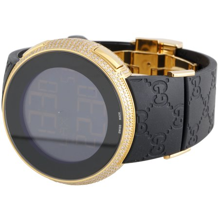 Best Mens YA114229 I-Gucci Digital White Diamond Watch 44mm Yellow Steel Case 2.50 CT deal