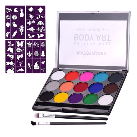 Professional Body Art Face Painting Kit Water Based Removable Body Paints 15 Colors Palette with 2 Paintbrushes and 4 Templates for Costume Makeup Themed Party Supplies - image 1 de 7