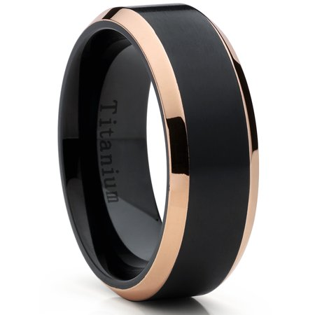 Rose Tone / Black Titanium Ring Wedding Band, Engagement Ring, High Polish Beveled Edge (Rose Titanium)