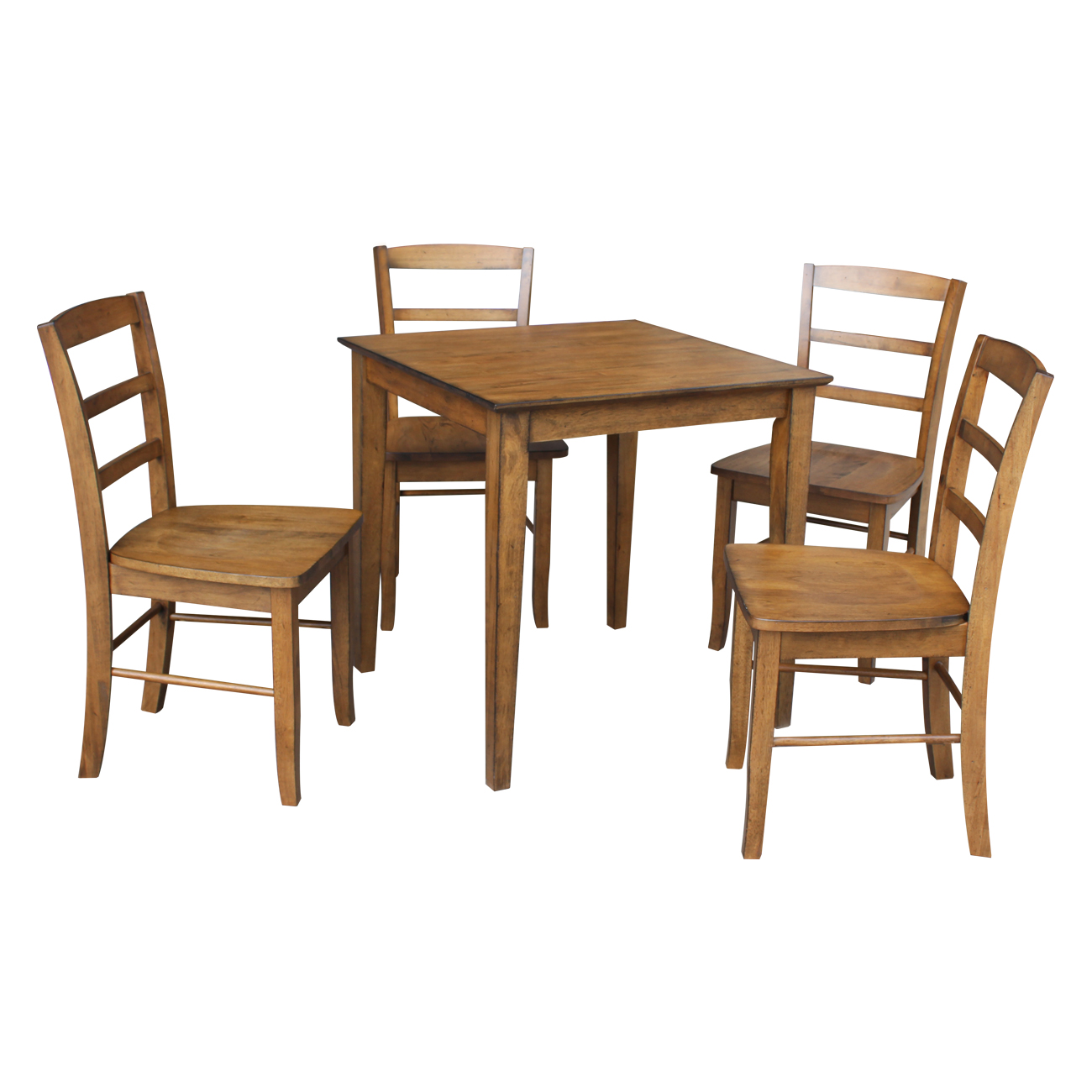 """30"""" x 30"""" Dining Table with 4 Madrid Chairs in Pecan - Set of 5"""