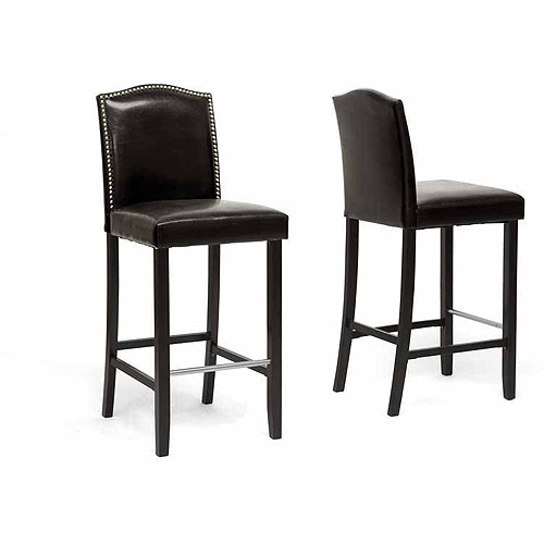 """Wholesale Interiors Libra 44.5"""" Modern Bar-Height Stool with Nail Head Trim, Set of 2, Brown"""