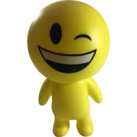 Yellow Laughing and Winking Emoticon Emoji Squeaky Squeeze Figure Relief Toy