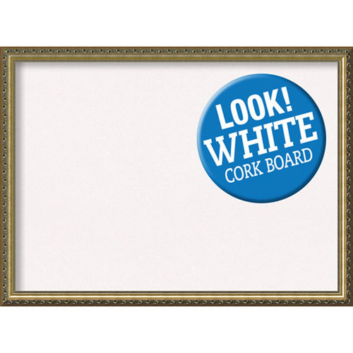 Amanti Art Framed White Cork Board, Parisian Bronze