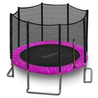 SereneLife SLTRA10PNK - Home Backyard Sports Trampoline - Large Outdoor Jumping Fun Trampoline for Kids / Children, Safety Net Cage (10? ft.)