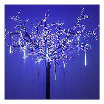 Meteor Shower Rain Lights, [Upgrade] LED Waterproof Falling Rain Drop Outdoor Xmas Lights for Holiday Xmas Tree Halloween Wedding Party Decoration 11.8 inch 144 LED ( White )