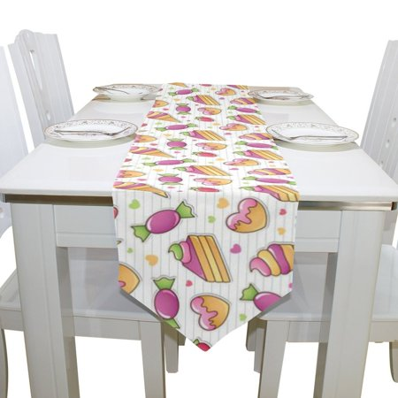 POPCreation Strawberry Candy Ice Cream Cake Table Runner Bed Runner 13x90 Inches Home Table Top Decoration Wedding Party Decor - Cake Table