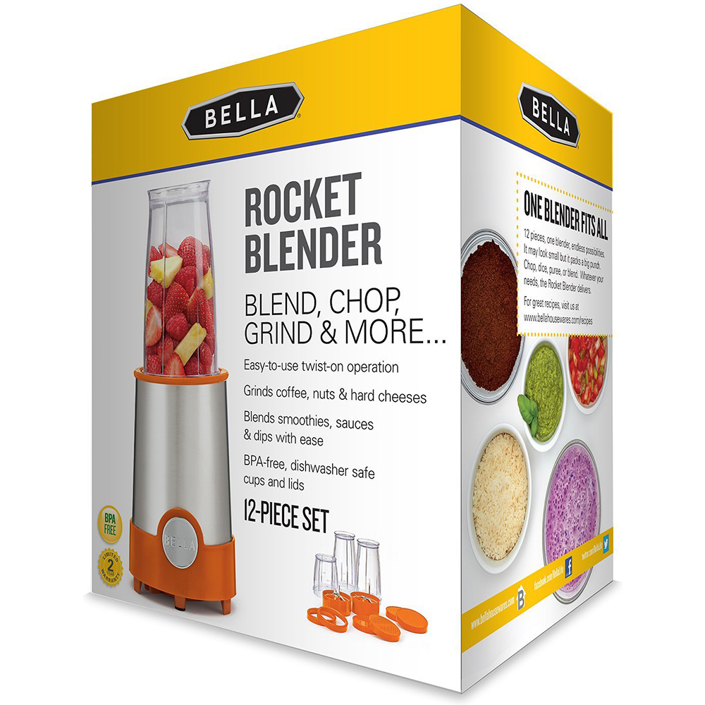 Bella 12 Piece Rocket Blender, Stainless Steel and Black ...