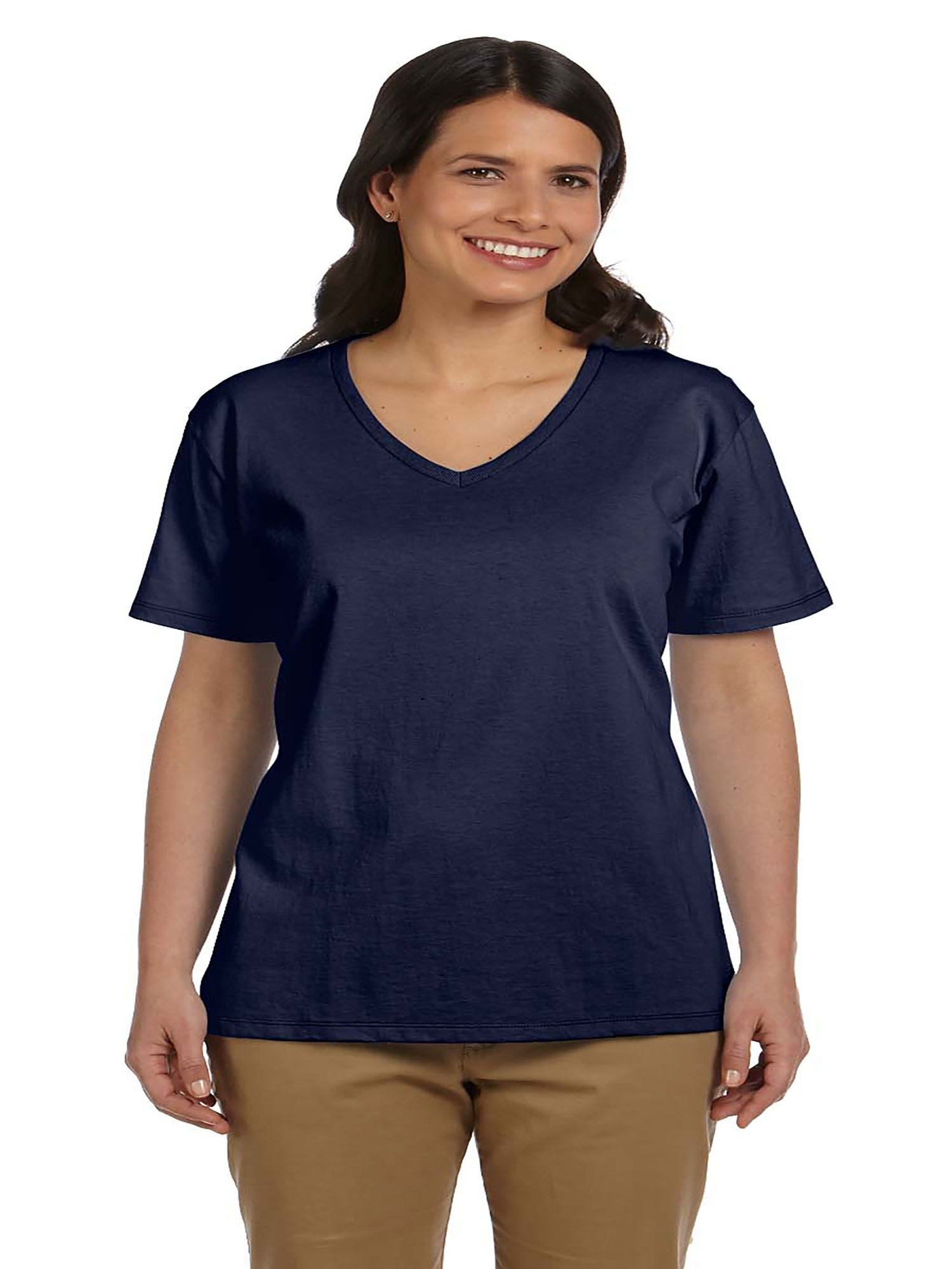 Hanes Relaxed Fit Women's ComfortSoft V-neck T-Shirt, Style 5780
