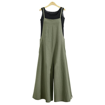 Womens Long Suspender Bib Casual Loose Solid Jumpsuit Rompers Overalls