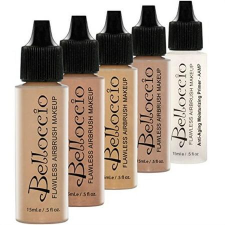 Belloccio Medium Color Shade Foundation Set - Professional Cosmetic Airbrush Makeup in 1/2 oz Bottles - Halloween Half N Half Makeup