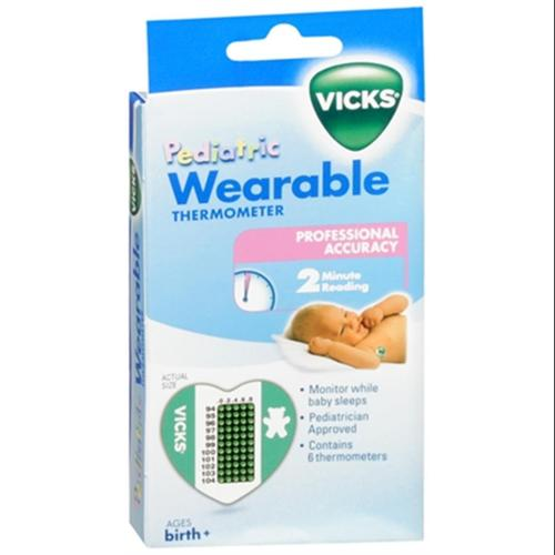 Vicks Wearable Thermometers V935 6 Each (Pack of 3)