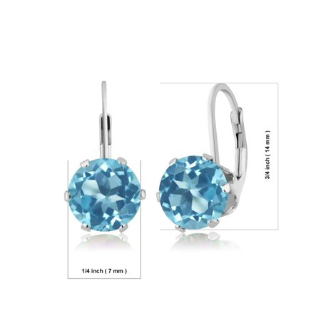 4.40 Ct Round Swiss Blue Topaz 925 Sterling Silver Earrings - image 1 de 2