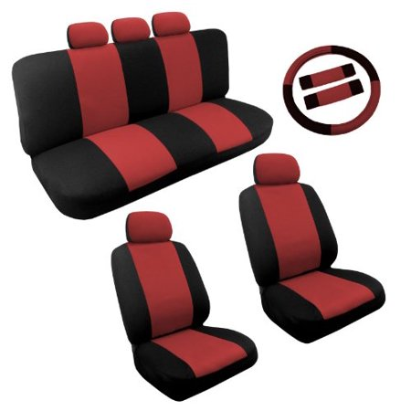 Dual Color Red Black Two Tone Car Seat Covers Steering Wheel Set 14pc Racing For
