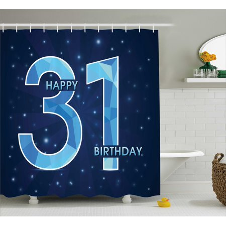 31st Birthday Decorations Shower Curtain Abstract Geometric Design In Blue Tones Modern Emblem Fabric