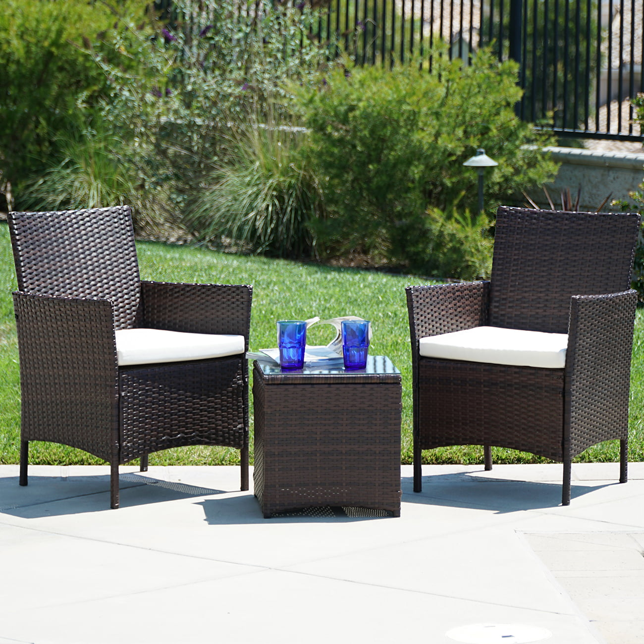 BELLEZE Wicker Furniture Outdoor Set 3 Piece Patio Outdoor Rattan Patio Set Two Chairs One Glass Table Brown by Belleze