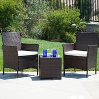 Deals on BELLEZE 3pc Outdoor Patio Wicker Cushion Seat Bistro Set