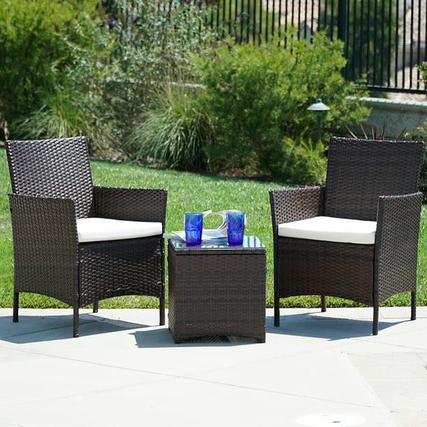 BELLEZE 3pc Outdoor Patio Wicker Cushion Seat Coffee Backyard Yard High-Backrest Bistro Set Glass Top Table Chair