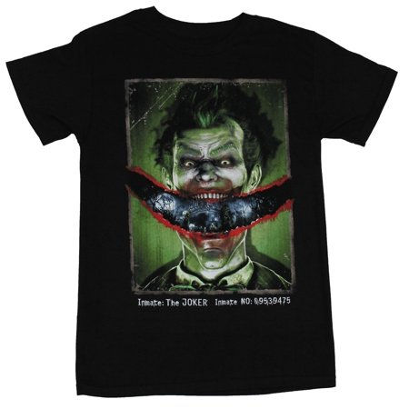 Batman Arkham Asylum Mens T-Shirt - Inmate Joker Ripped Smile Image (Small, Small) (The Joker Costume Arkham Asylum)