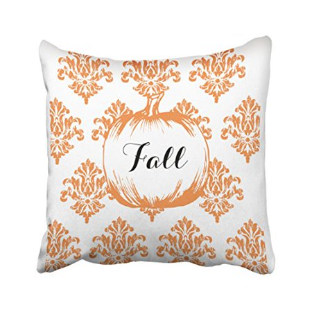 WinHome Halloween Vintage Orange Pattern Fall Pumpkin Pillow Covers Cushion Cover Case 18x18 Inches Pillowcases Two Side - Large Halloween Pumpkin Patterns