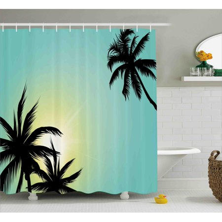 Modern Shower Curtain, Hawaiian Miami Beach Island Palm Trees with Sun Like Clear Skies Art Print Image, Fabric Bathroom Set with Hooks, 69W X 84L Inches Extra Long, Seafoam Black, by Ambesonne