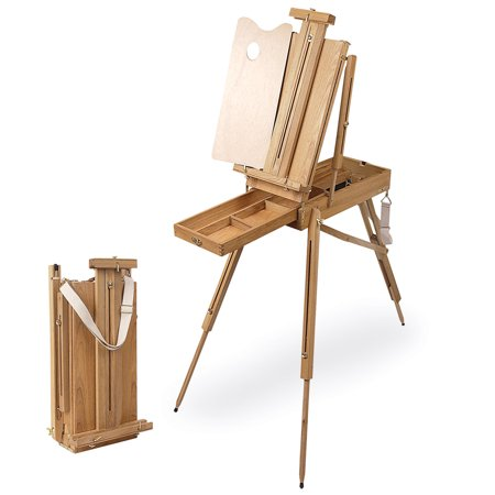 (Creative Mark Cezanne Half Box French Artist Painting Drawing Easel - Oiled Stained Elm Wood, With Sketch Box Drawer, Canvas Carrying Clips, Brass Plated Hardware - Oil Stained)