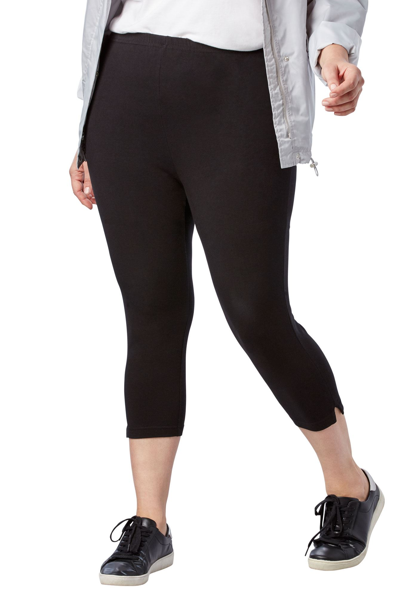 Plus Size Petite Stretch Cotton Capri Legging