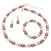 Cream, Beige and White Glass Pearl Bead Jewelry Set