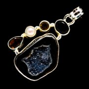 "Coconut Geode Druzy, Black Onyx, Smoky Quartz, Cultured Pearl Pendant 1 3/4"" (925 Sterling Silver)  - Handmade Boho Vintage Jewelry PD696023"