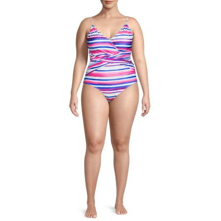 Catherine Malandrino Women's Plus Size Crisscross Stripe One-Piece Swimsuit