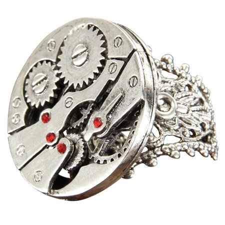 Steampunk Watch Cases (Steampunk Watch Gears Silver Costume Ring Adult One Size )