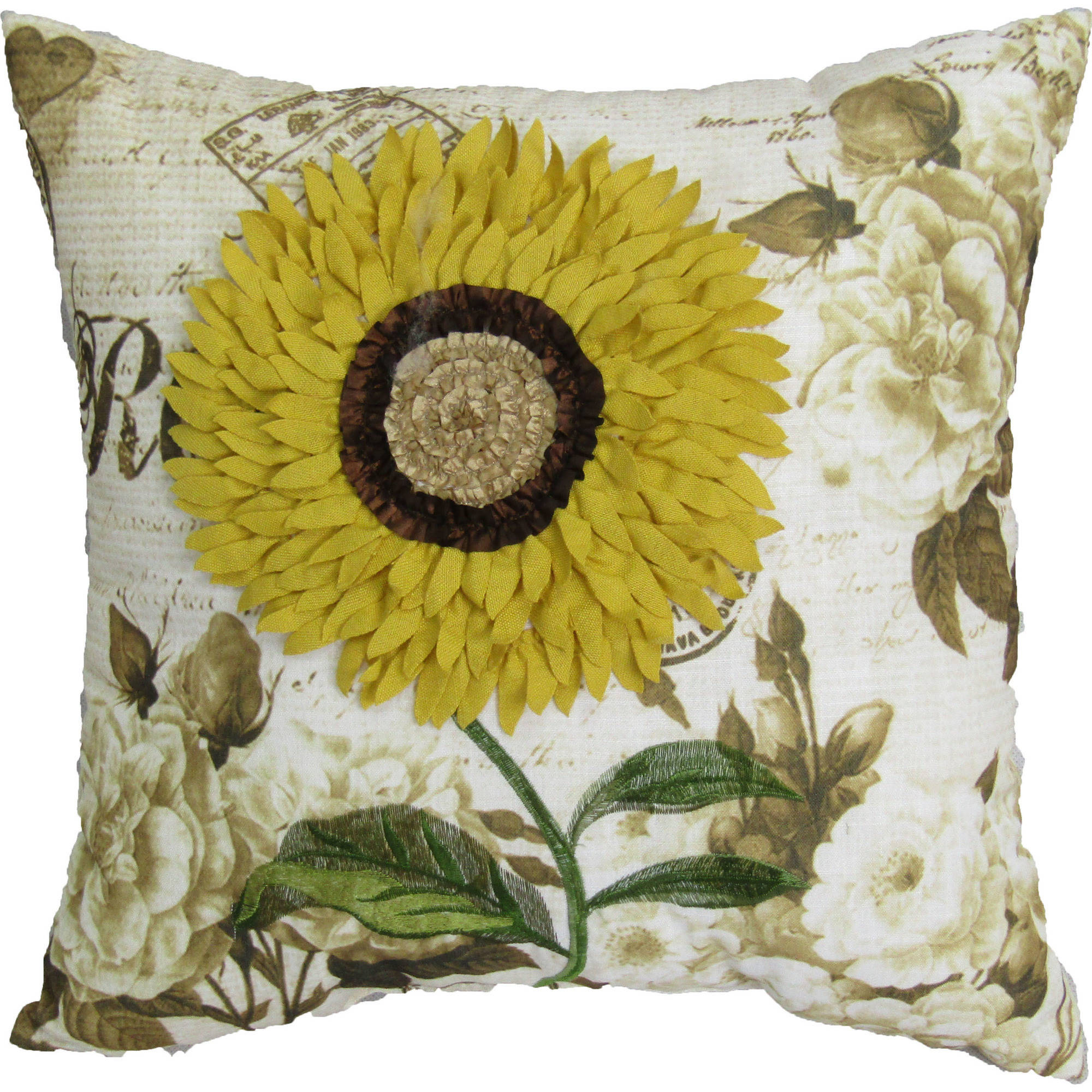 Better homes and gardens 18 x18 sunflower pillow at home - Better homes and gardens pillows ...