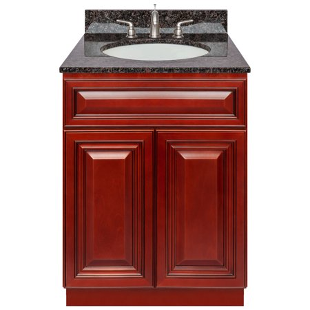 "Cherry Bathroom Vanity 24"", Tan Brown Granite Top, Faucet LB4B"