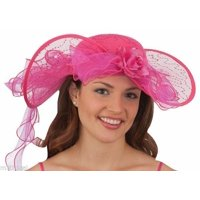 Womens Pink Southern Belle Kentucky Derby Hat Lace Costume Colonial Western