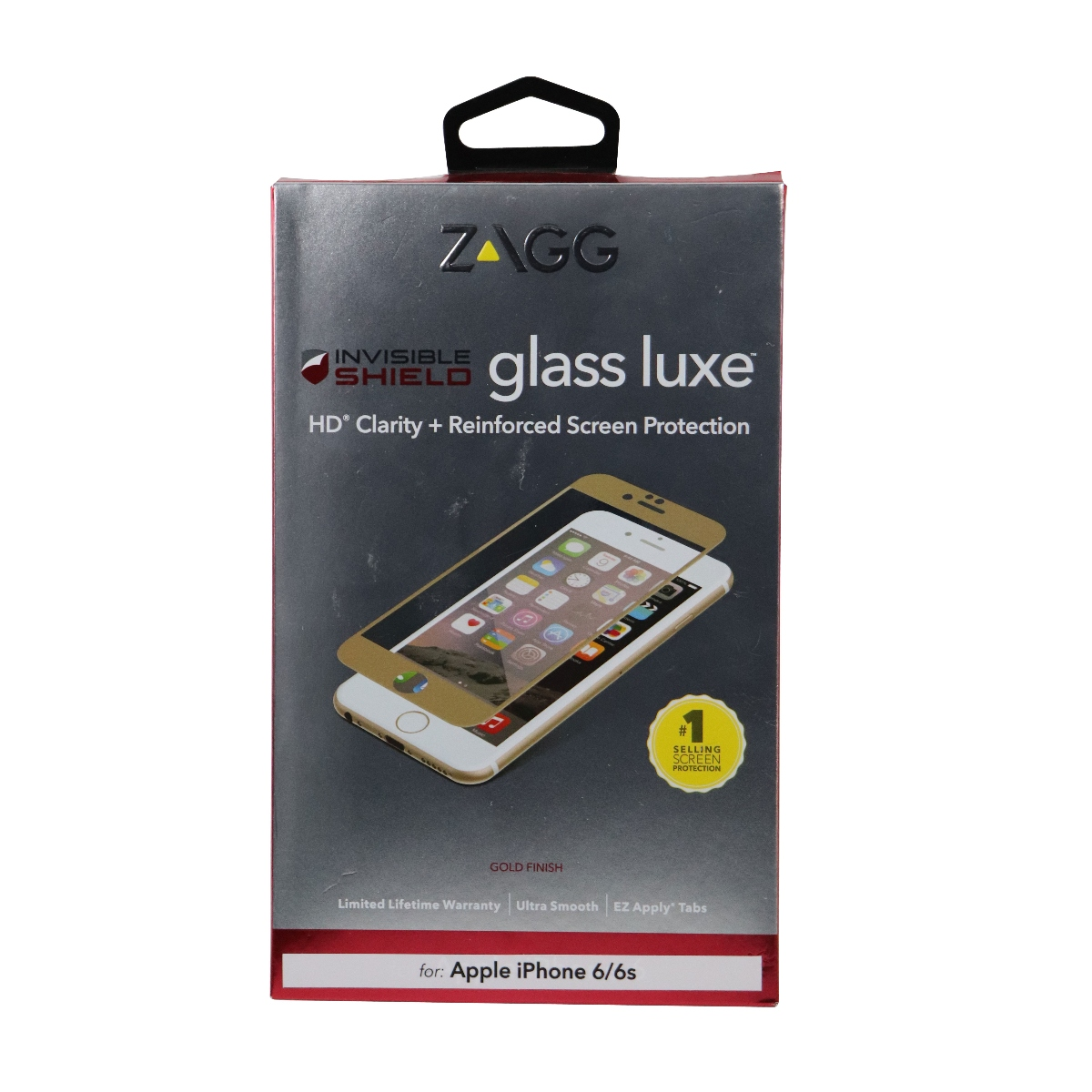 ZAGG Glass Luxe Screen Protector for Apple iPhone 6s and 6 - Gold Trim