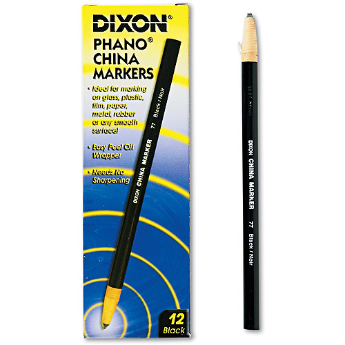 Dixon China Marker with Easy Peel Wrapper, Black, 12-Pack