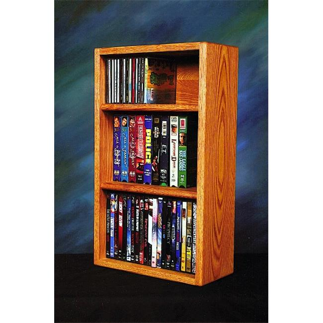 Wood Shed 313-1 W Solid Oak desktop or shelf for CDs and DVDs- VHS Tapes