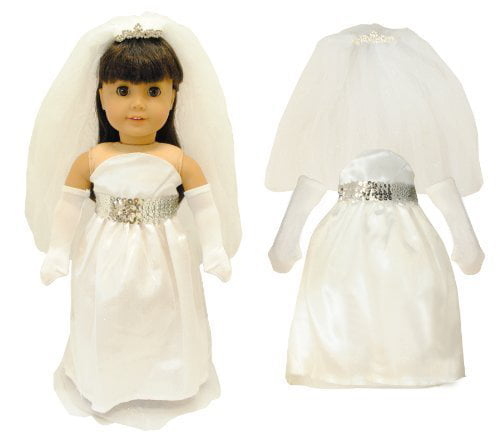 Doll Clothes White Bridal Dress Outfit Fits American Girl & Other 18 Inch Dolls by Pink Butterfly Closet