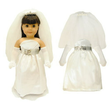 Doll Clothes - White Bridal Dress Outfit Fits American Girl & Other 18 Inch Dolls