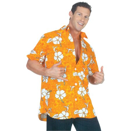 Orange Hawaiian Shirt Adult Halloween Costume (Hawaiian Theme Costumes)