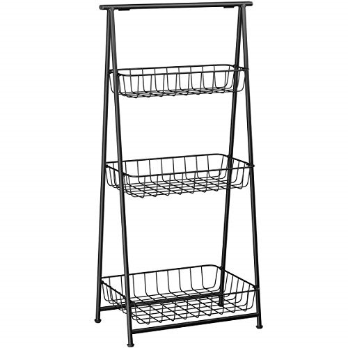 LANGRIA 3 Tier Metal Storage Basket Stand Foldable Wire Shelving Unit With  Heavy Duty Antique Shelf Design Features 3 Baskets And 4 Adjustable ...