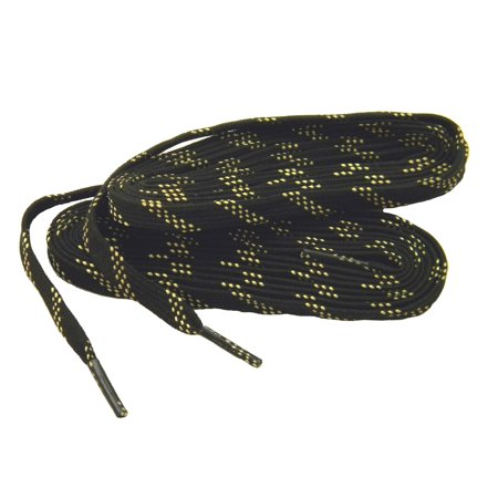 2 Pair Pack - 54 Inch 137 cm Black w/ Yellow proTOUGH Work Boot Hiker shoelaces reinforced with