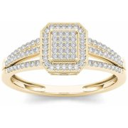 1/4 Carat T.W. Diamond Single Halo Cluster 10kt Yellow Gold Engagement Ring