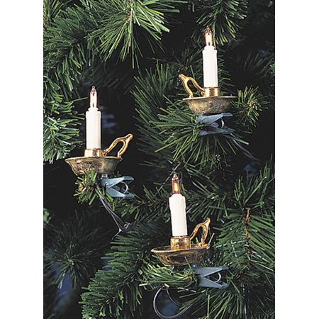 Set of 10 Candolier Candle Holder Novelty Christmas Lights - 16 ft Green Wire ()